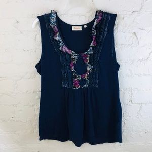 Anthropologie {Deletta} Navy and Floral Tank Top
